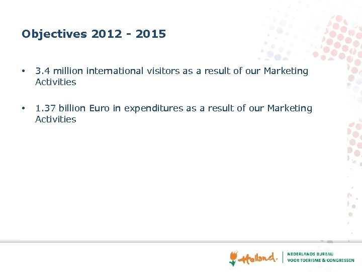 Objectives 2012 - 2015 • 3. 4 million international visitors as a result of