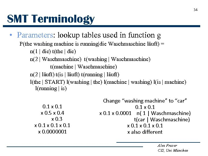 34 SMT Terminology • Parameters: lookup tables used in function g P(the washing machine