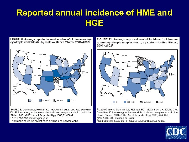 Reported annual incidence of HME and HGE