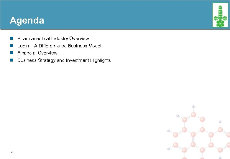 Agenda n Pharmaceutical Industry Overview n Lupin – A Differentiated Business Model n Financial