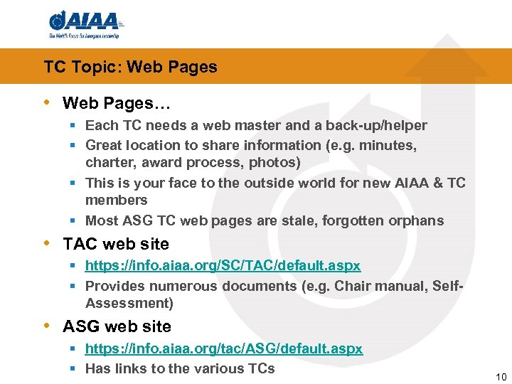 TC Topic: Web Pages • Web Pages… § Each TC needs a web master