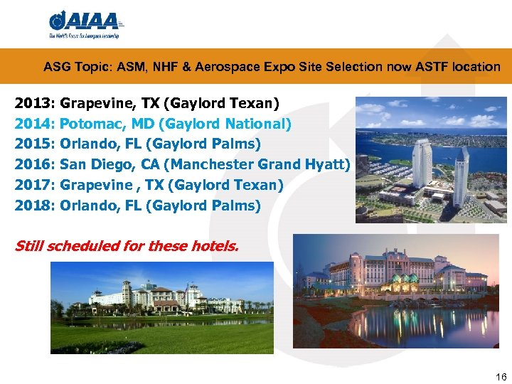 ASG Topic: ASM, NHF & Aerospace Expo Site Selection now ASTF location 2013: Grapevine,