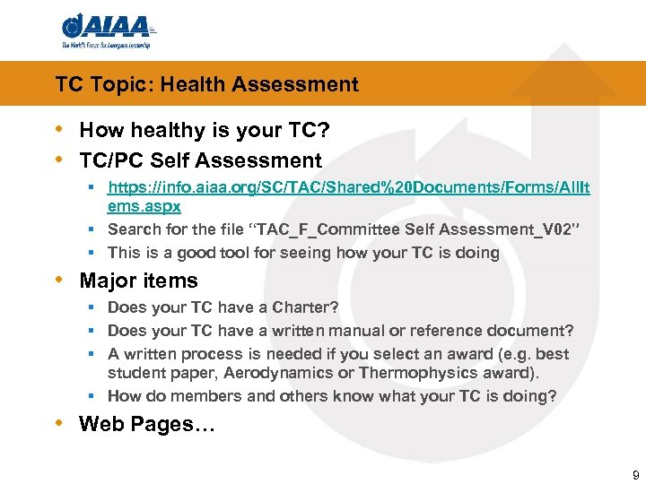 TC Topic: Health Assessment • How healthy is your TC? • TC/PC Self Assessment
