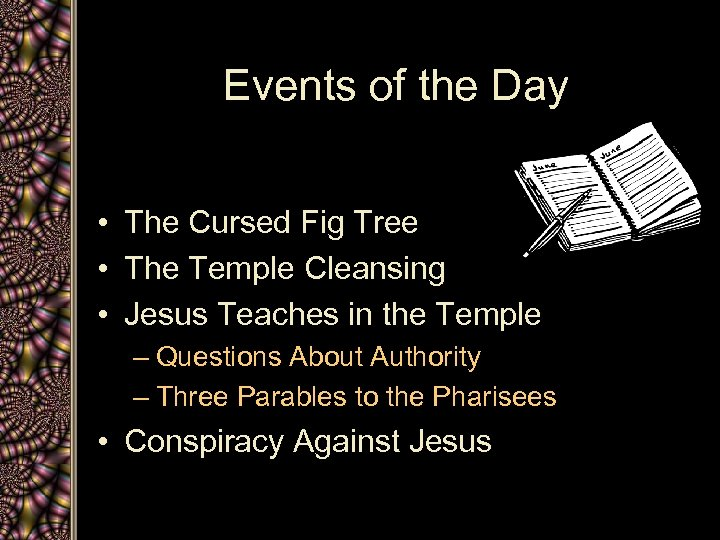 Events of the Day • The Cursed Fig Tree • The Temple Cleansing •
