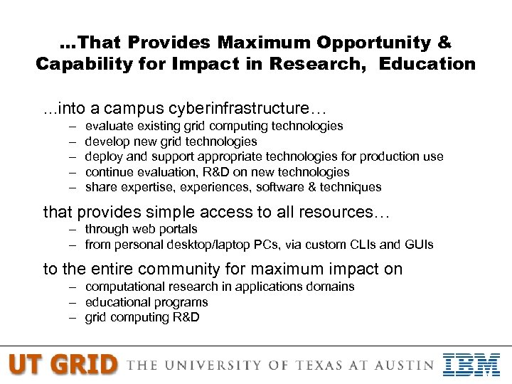 …That Provides Maximum Opportunity & Capability for Impact in Research, Education …into – –