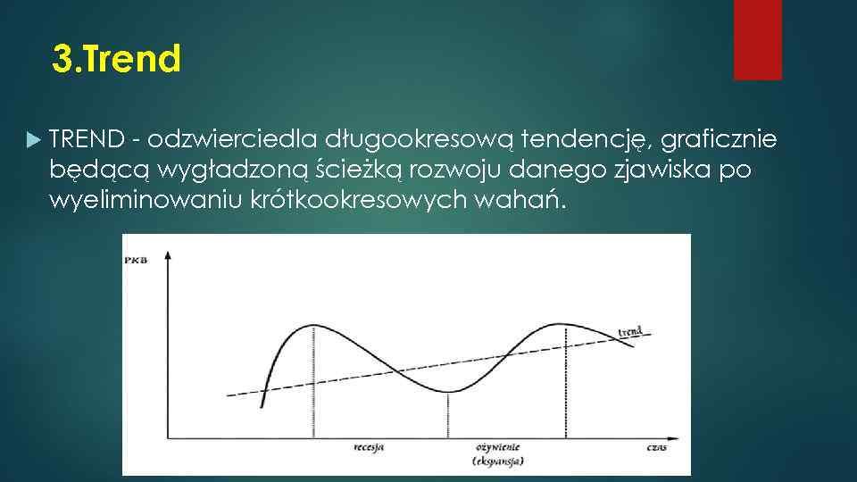 3. Trend TREND - odzwierciedla długookresową tendencję, graficznie będącą wygładzoną ścieżką rozwoju danego zjawiska