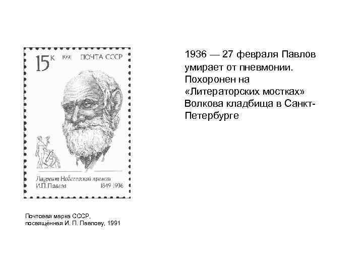 1936 — 27 февраля Павлов умирает от пневмонии. Похоронен на «Литераторских мостках» Волкова кладбища