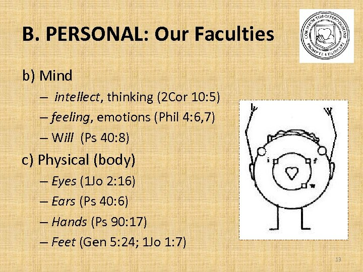 B. PERSONAL: Our Faculties b) Mind – intellect, thinking (2 Cor 10: 5) –