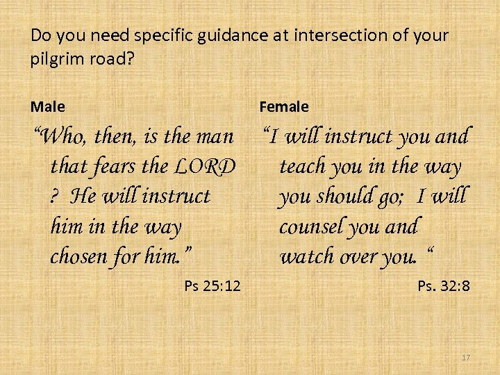 """Do you need specific guidance at intersection of your pilgrim road? Male Female """"Who,"""