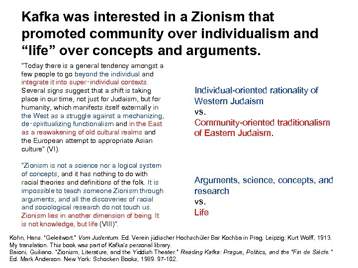 """Kafka was interested in a Zionism that promoted community over individualism and """"life"""" over"""