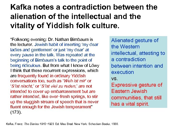 Kafka notes a contradiction between the alienation of the intellectual and the vitality of