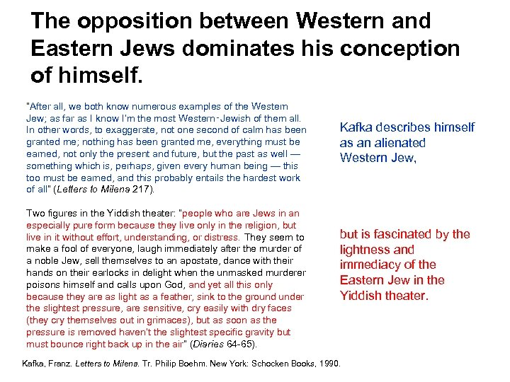 """The opposition between Western and Eastern Jews dominates his conception of himself. """"After all,"""