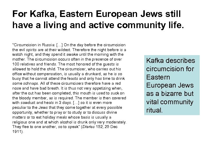 """For Kafka, Eastern European Jews still have a living and active community life. """"Circumcision"""