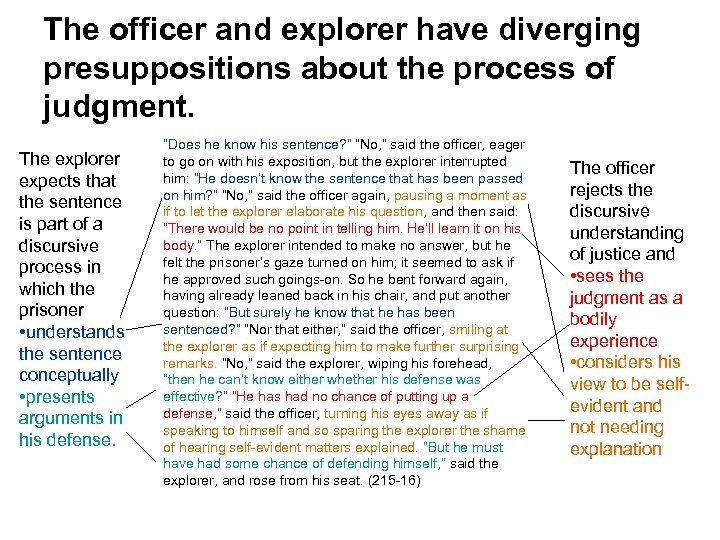 The officer and explorer have diverging presuppositions about the process of judgment. The explorer