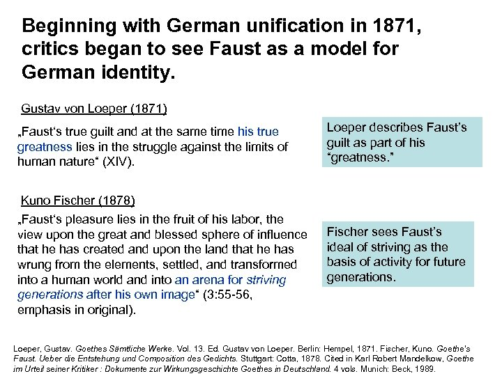 Beginning with German unification in 1871, critics began to see Faust as a model