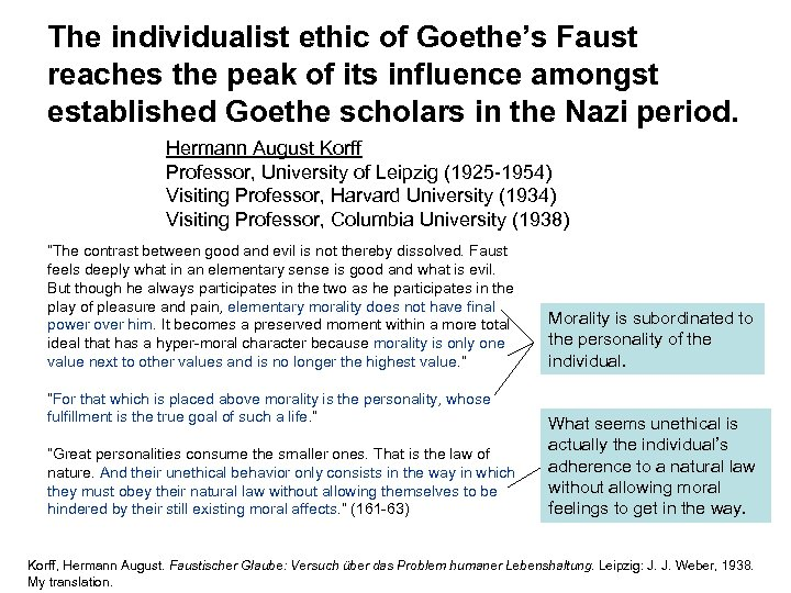 The individualist ethic of Goethe's Faust reaches the peak of its influence amongst established