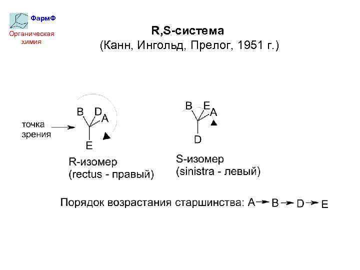Фарм. Ф Органическая химия R, S-система (Канн, Ингольд, Прелог, 1951 г. )