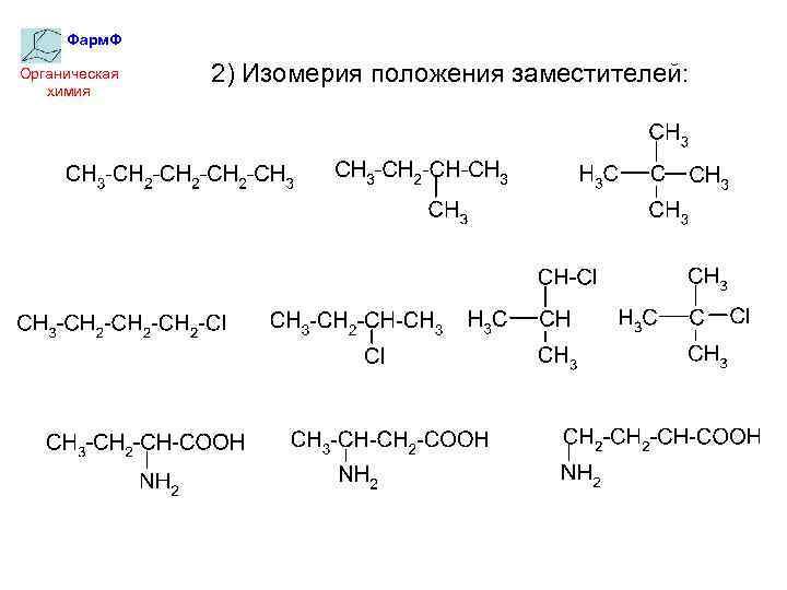 Фарм. Ф Органическая химия 2) Изомерия положения заместителей:
