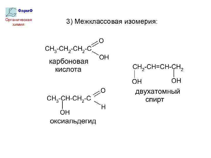 Фарм. Ф Органическая химия 3) Межклассовая изомерия: