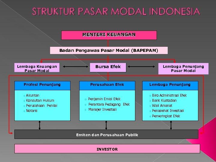 STRUKTUR PASAR MODAL INDONESIA MENTERI KEUANGAN Badan Pengawas Pasar Modal (BAPEPAM) Bursa Efek Lembaga