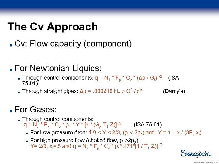 The Cv Approach Cv: Flow capacity (component) For Newtonian Liquids: Through control components: q