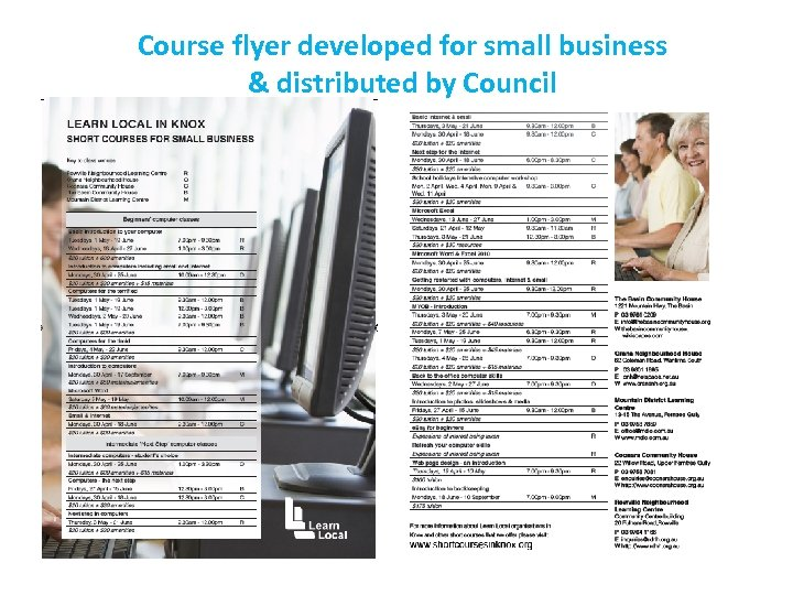 Course flyer developed for small business & distributed by Council