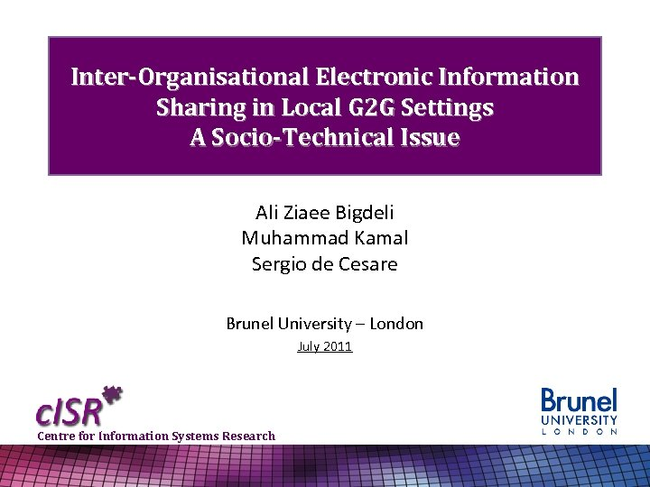 Inter-Organisational Electronic Information Sharing in Local G 2 G Settings A Socio-Technical Issue Ali