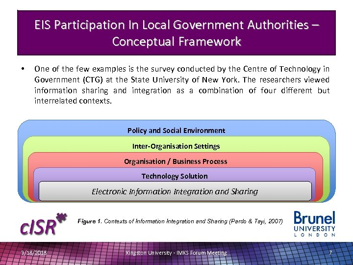 EIS Participation In Local Government Authorities – Conceptual Framework • One of the few