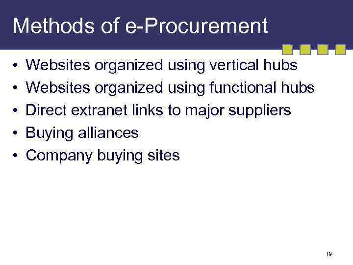 Methods of e-Procurement • • • Websites organized using vertical hubs Websites organized using