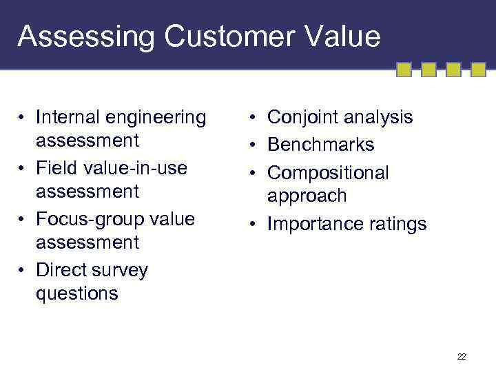 Assessing Customer Value • Internal engineering assessment • Field value-in-use assessment • Focus-group value