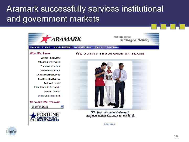 Aramark successfully services institutional and government markets 29
