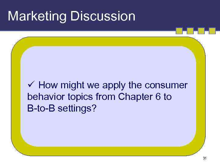 Marketing Discussion ü How might we apply the consumer behavior topics from Chapter 6
