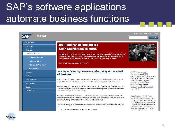 SAP's software applications automate business functions 4