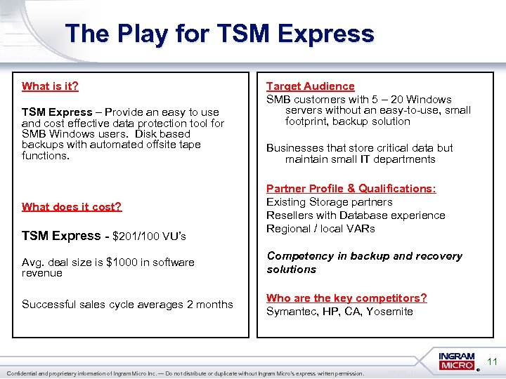 The Play for TSM Express What is it? TSM Express – Provide an easy