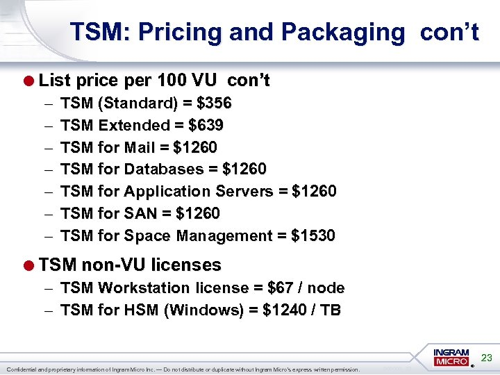 TSM: Pricing and Packaging con't =List price per 100 VU con't – – –