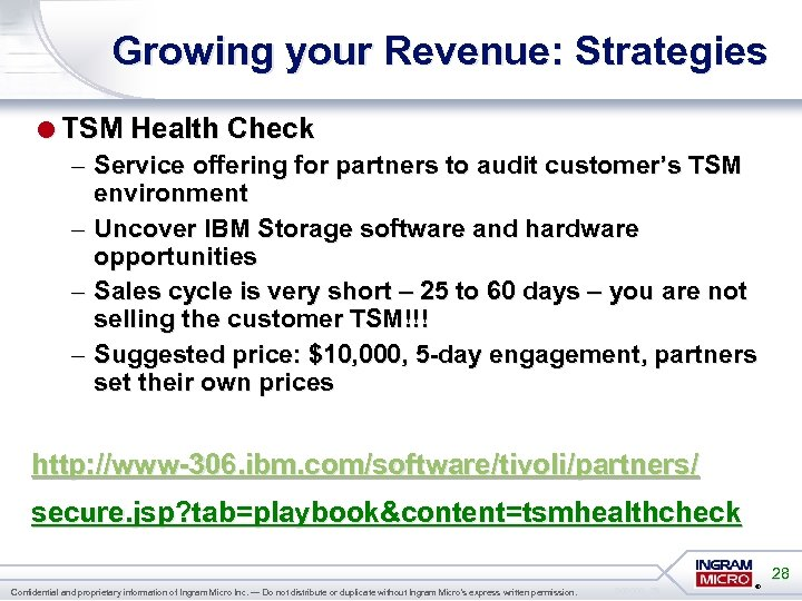 Growing your Revenue: Strategies =TSM Health Check – Service offering for partners to audit