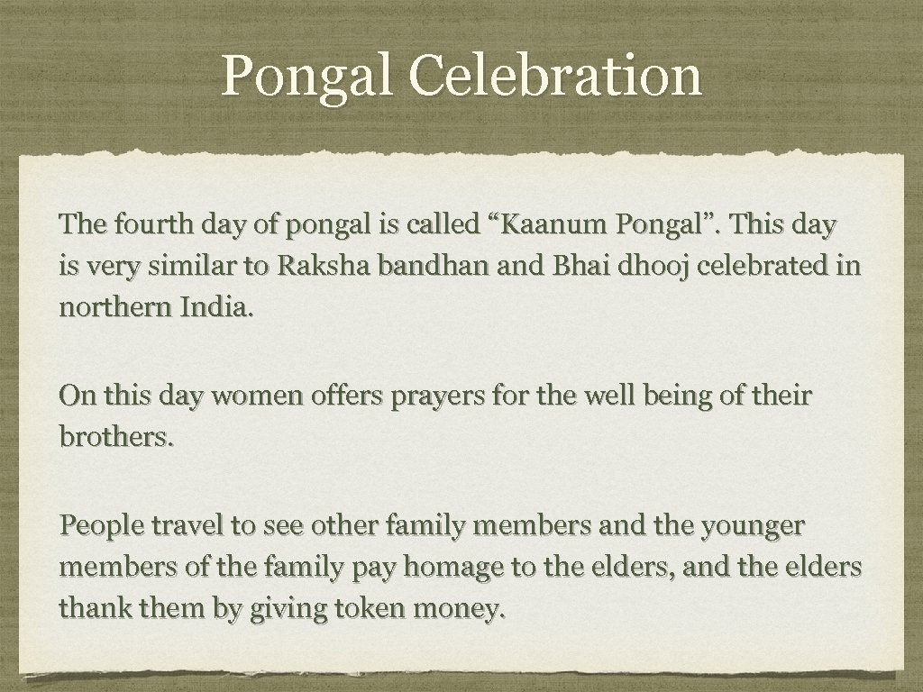 """Pongal Celebration The fourth day of pongal is called """"Kaanum Pongal"""". This day is"""