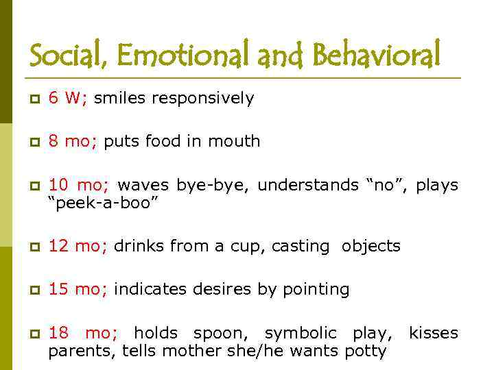 Social, Emotional and Behavioral p 6 W; smiles responsively p 8 mo; puts food