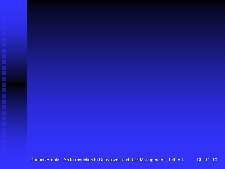 Chance/Brooks An Introduction to Derivatives and Risk Management, 10 th ed. Ch. 11: 10