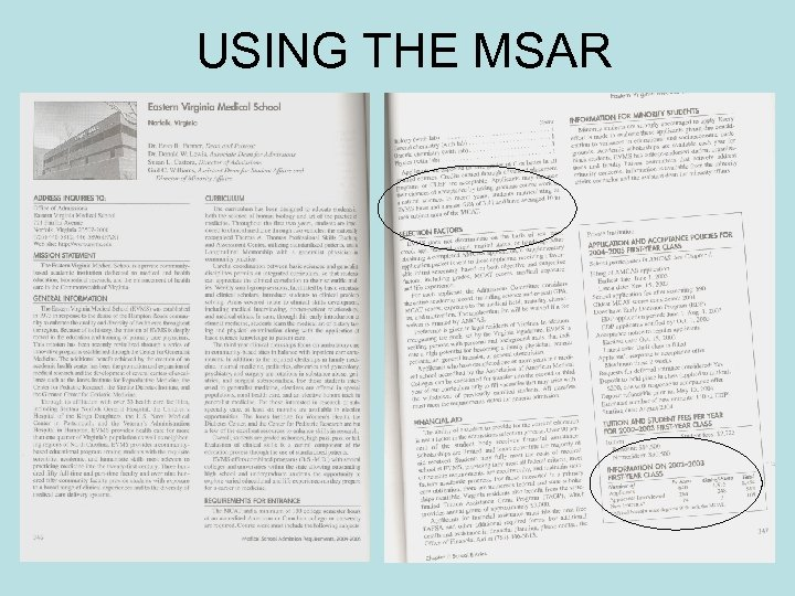 USING THE MSAR