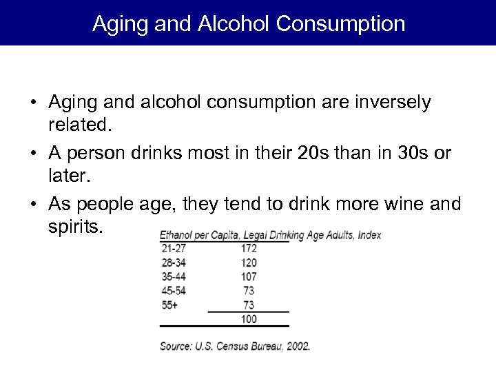 Aging and Alcohol Consumption • Aging and alcohol consumption are inversely related. • A