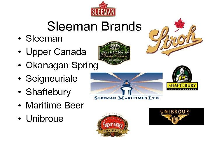 • • Sleeman Brands Sleeman Upper Canada Okanagan Spring Seigneuriale Shaftebury Maritime Beer