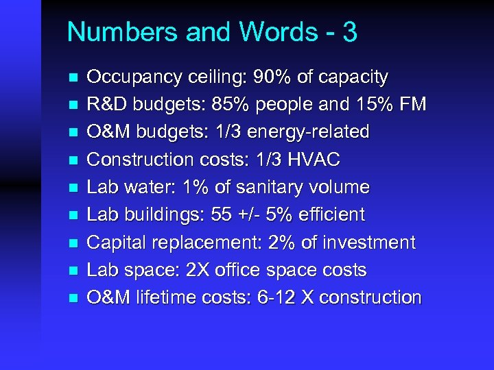 Numbers and Words - 3 n n n n n Occupancy ceiling: 90% of