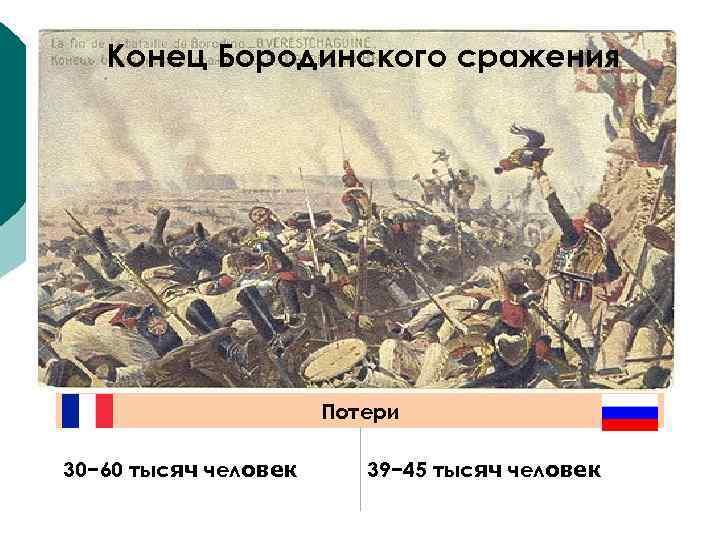 Конец Бородинского сражения Потери 30− 60 тысяч человек 39− 45 тысяч человек