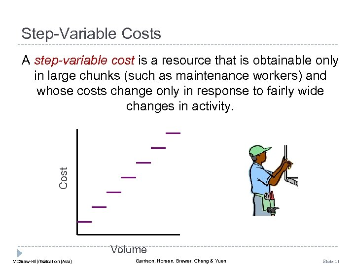 Step-Variable Costs Cost A step-variable cost is a resource that is obtainable only in