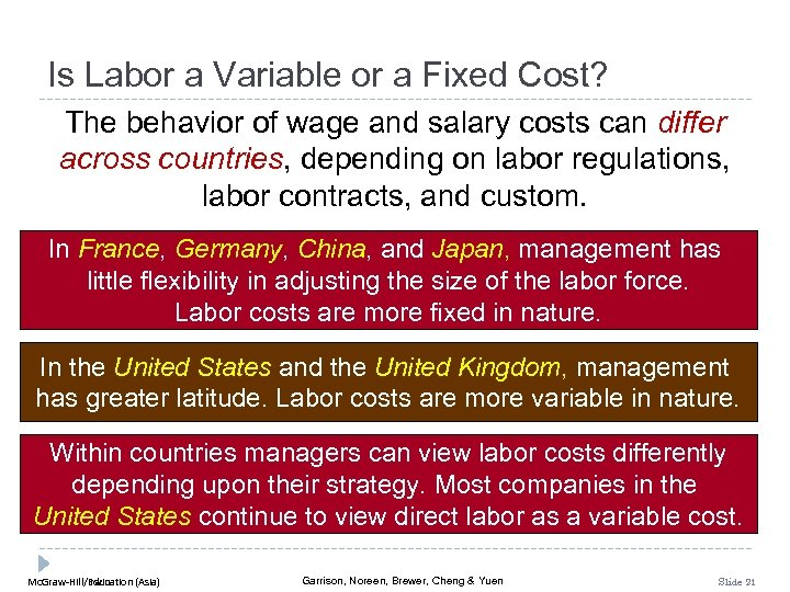 Is Labor a Variable or a Fixed Cost? The behavior of wage and salary