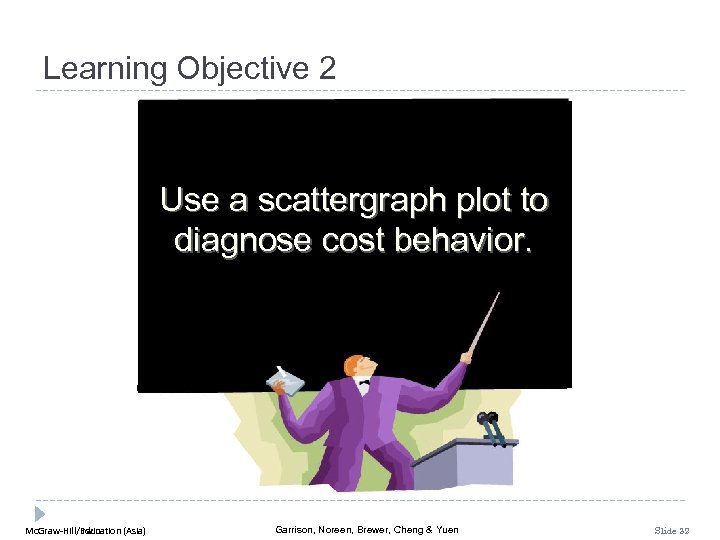 Learning Objective 2 Use a scattergraph plot to diagnose cost behavior. Mc. Graw-Hill/Irwin Mc.