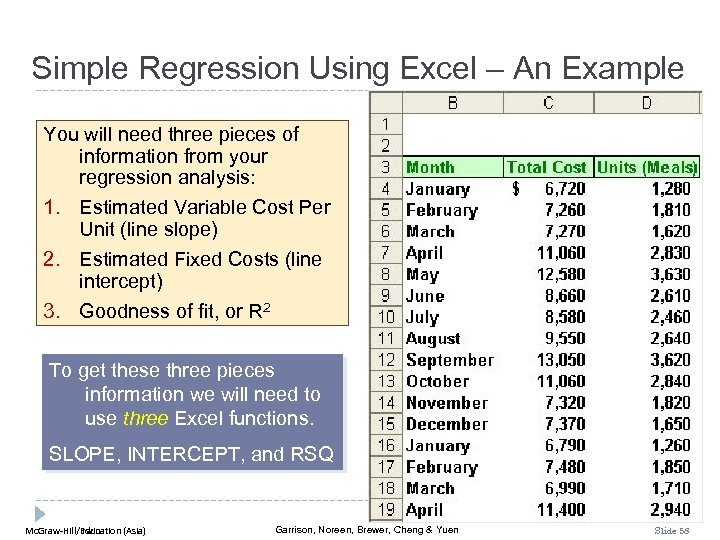 Simple Regression Using Excel – An Example You will need three pieces of information