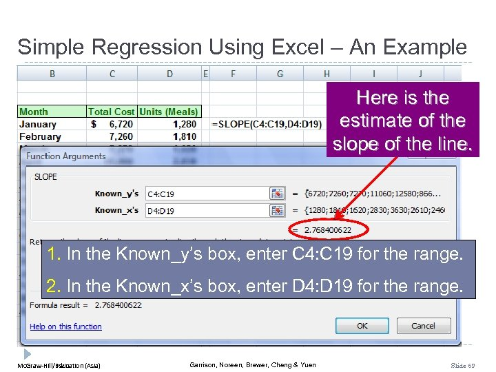 Simple Regression Using Excel – An Example Here is the estimate of the slope