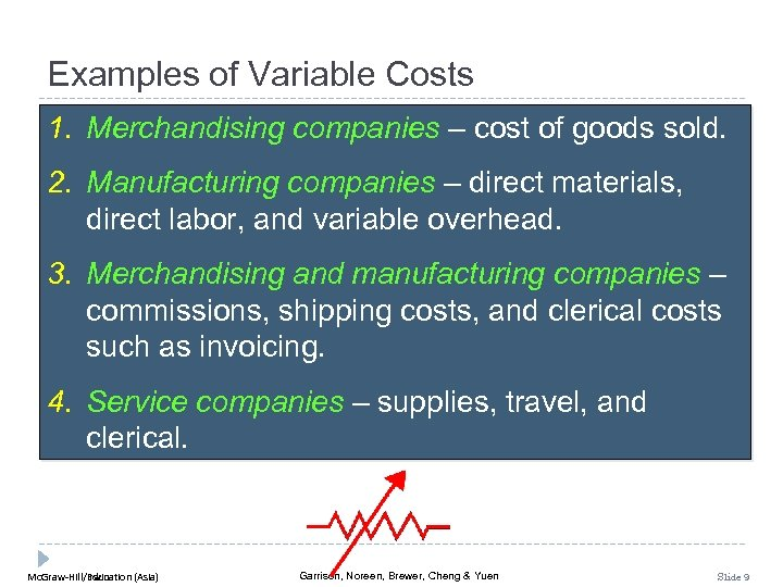 Examples of Variable Costs 1. Merchandising companies – cost of goods sold. 2. Manufacturing